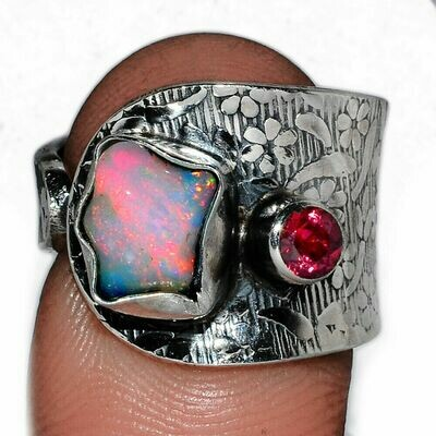 Opal and Garnet Ring Size 8