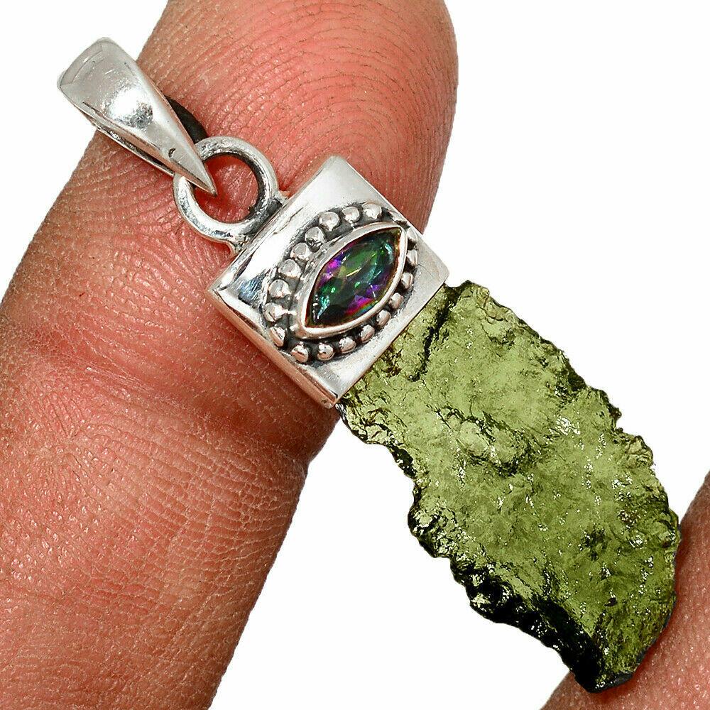 Moldavite and Mystic Topaz Pendant