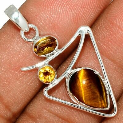 Tiger's Eye and Citrine Pendant