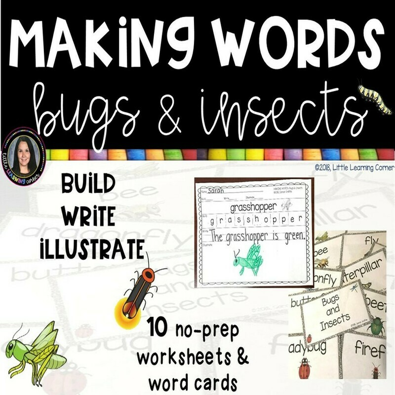 Making Words - Bugs and Insects - Writing Center and Vocabulary Cards