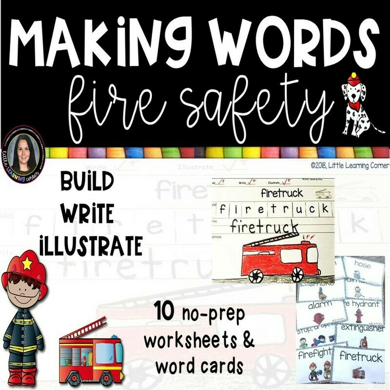 Making Words - Fire Safety - Writing Center and Vocabulary Cards
