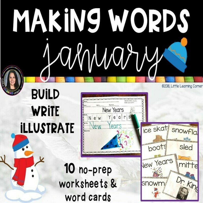 Making Words - January - Writing Center and Vocabulary Cards