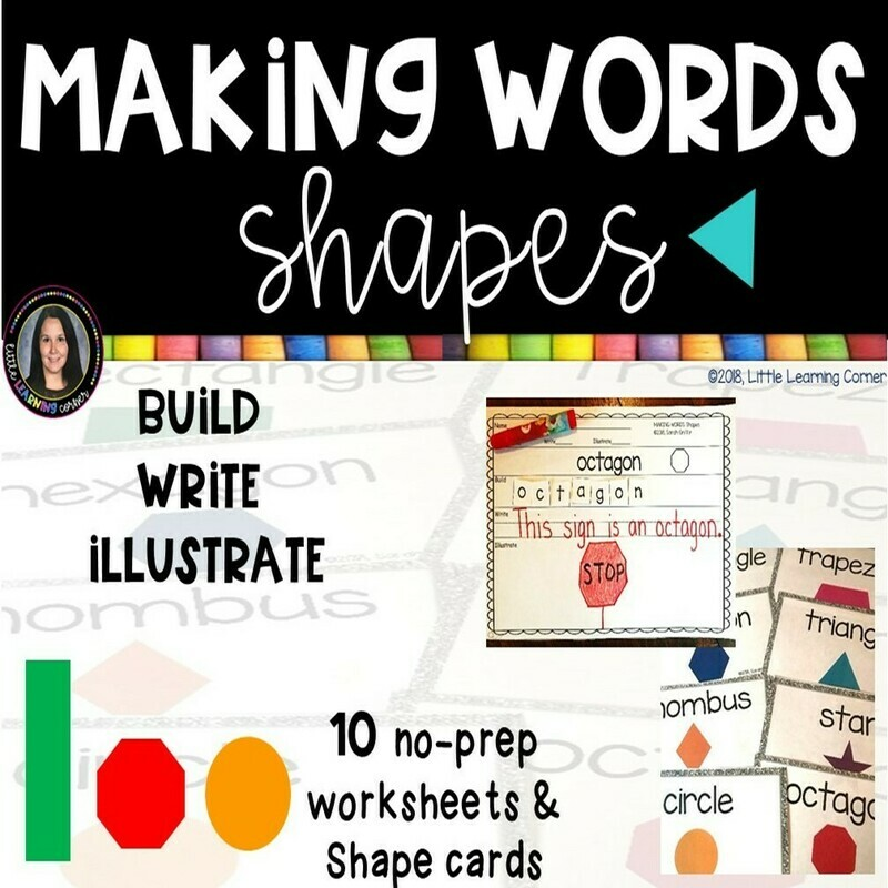Making Words - Shapes - Math and Writing Center with Picture Cards