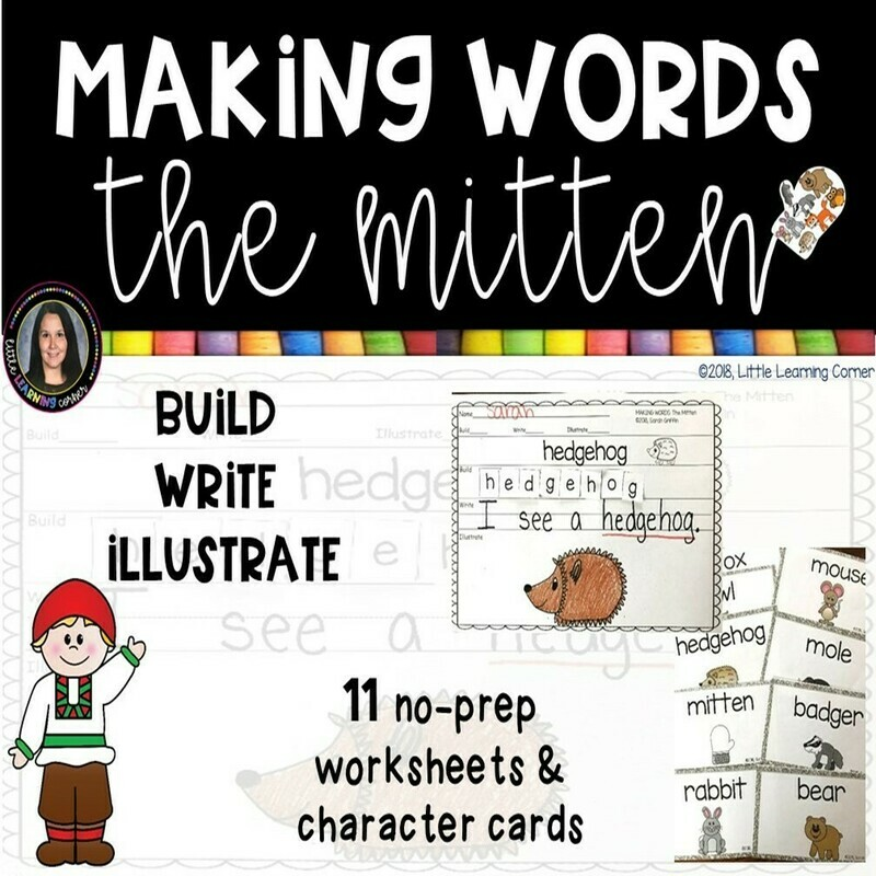 Making Words - The Mitten - Writing Center and Character Cards