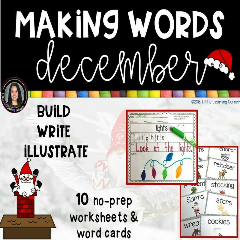 Making Words - December - Writing Center and Vocabulary Cards