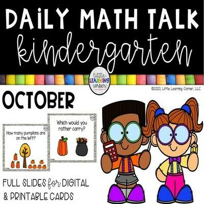 Kindergarten Math Talks - October - DIGITAL and PRINTABLE