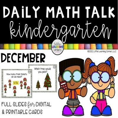 Kindergarten Math Talks - December - DIGITAL and PRINTABLE