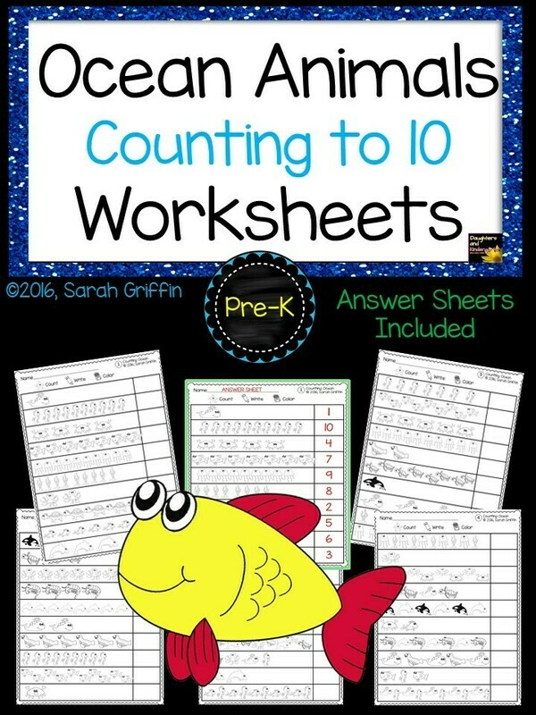 Ocean Animals Counting Worksheets