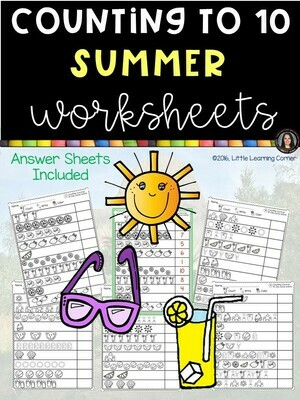 Summer Counting Worksheets
