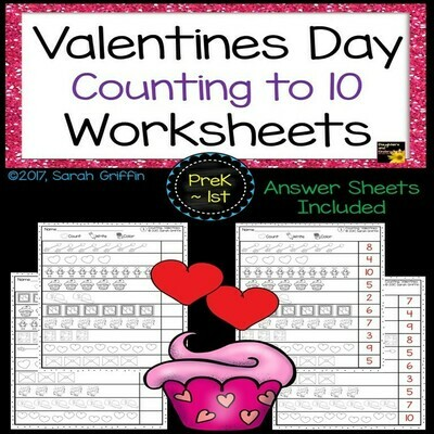 Valentines Day Counting Worksheets
