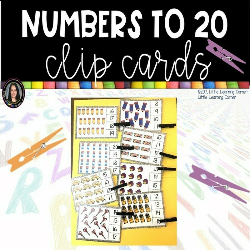 Numbers to 20 Clip Cards