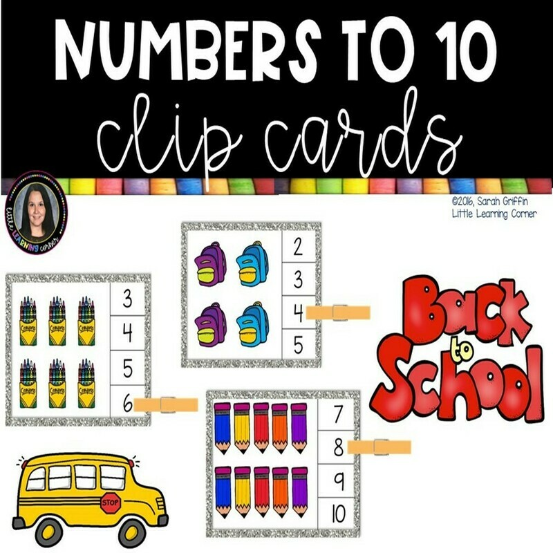 Numbers to 10 Clip Cards