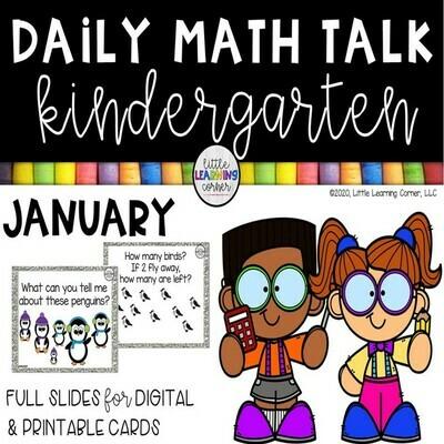 Kindergarten Math Talks - January - DIGITAL and PRINTABLE
