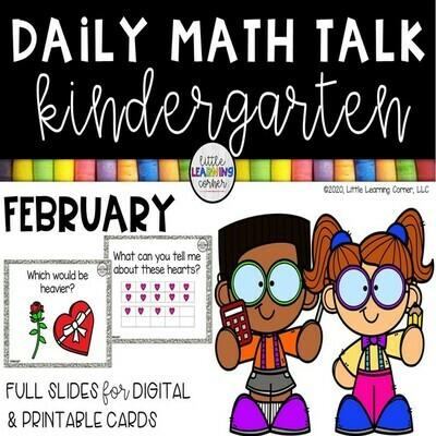 Kindergarten Math Talks - February - DIGITAL and PRINTABLE