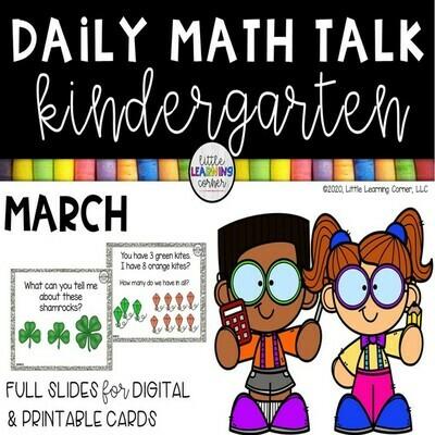 Kindergarten Math Talks - March -DIGITAL and PRINTABLE