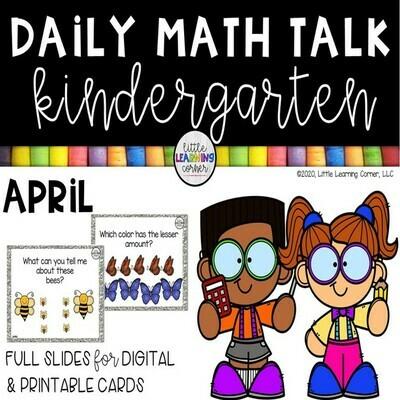 Kindergarten Math Talks - April - DIGITAL and PRINTABLE