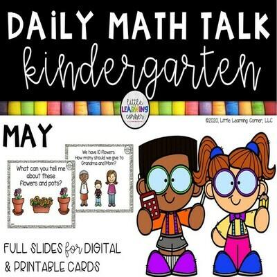 Kindergarten Math Talks - May - DIGITAL and PRINTABLE
