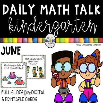 Kindergarten Math Talks - June - DIGITAL AND PRINTABLE