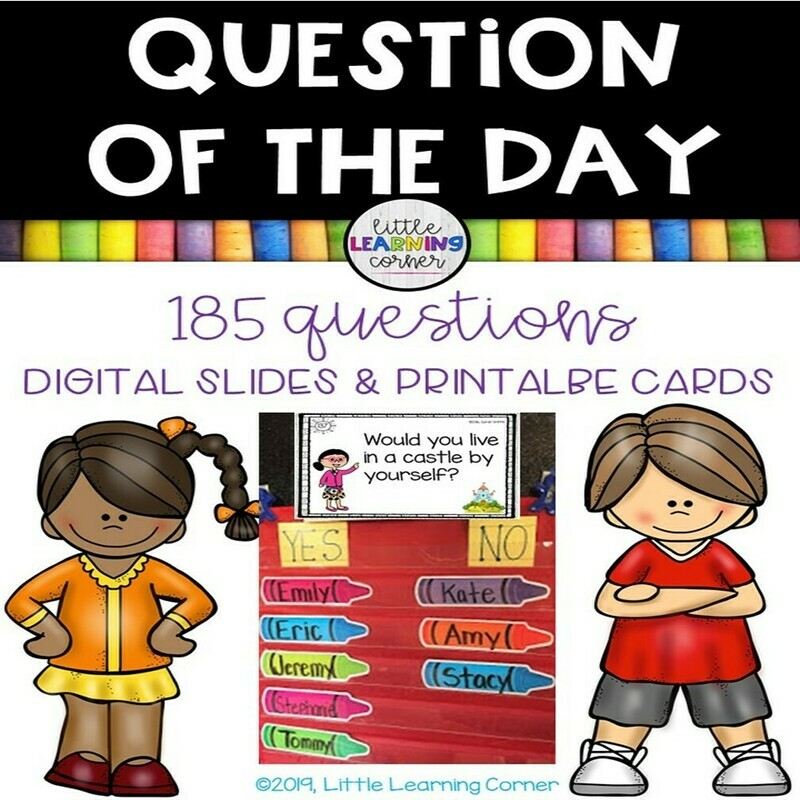 Question of the Day - DIGITAL and PRINTABLE 185 yes/no questions
