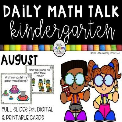 Kindergarten Math Talks - August - DIGITAL and PRINTABLE