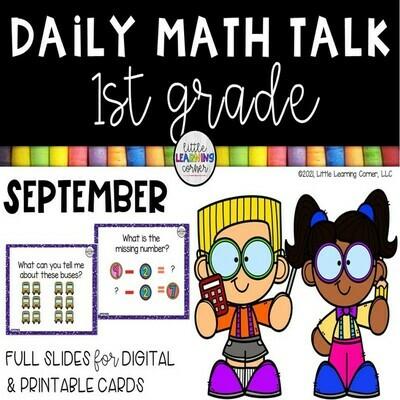 First Grade Math Talks - September
