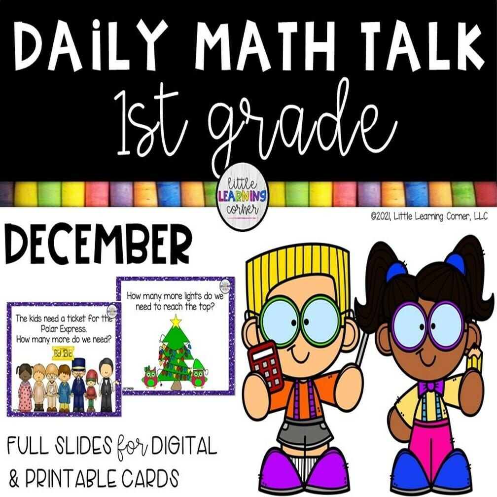 First Grade Math Talks - December - DIGITAL and PRINTABLE