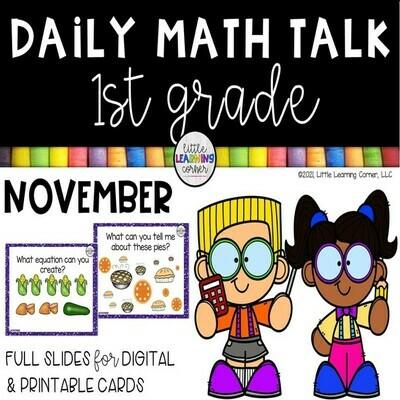 First Grade Math Talks - November - DIGITAL and PRINTABLE