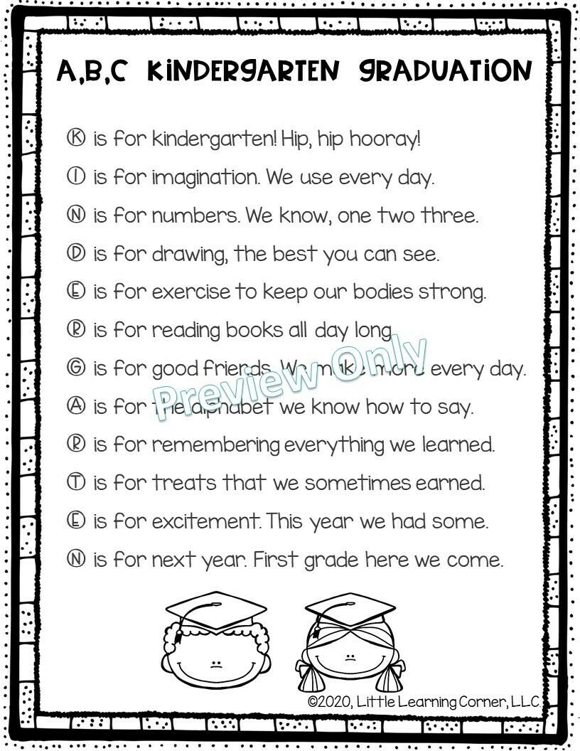 ABC Kindergarten Graduation Song and Poem