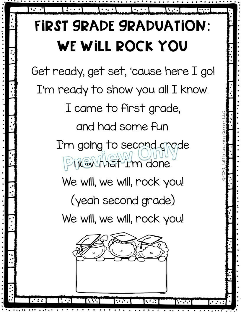 First Grade Graduation End of Year Song - We Will Rock You