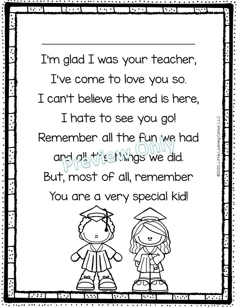 End of Year Poem from Teacher to Kids