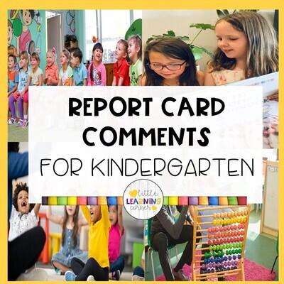 Kindergarten Report Card Comments