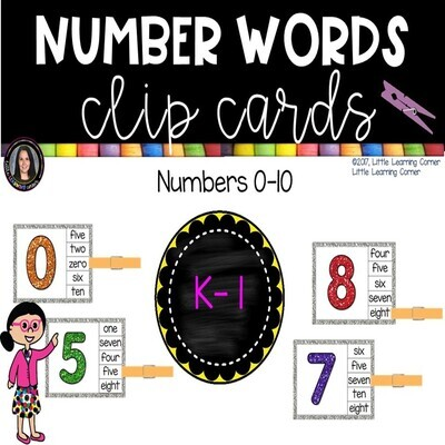 Number Words to 10 Clip Cards