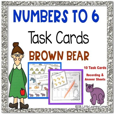 Numbers to 6 BROWN BEAR Task Cards