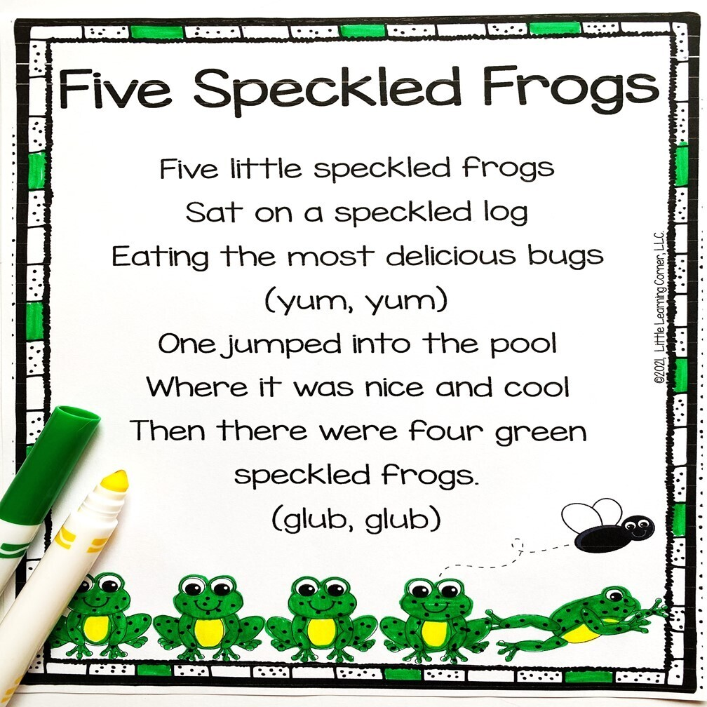 Five Speckled Frogs Counting Poem