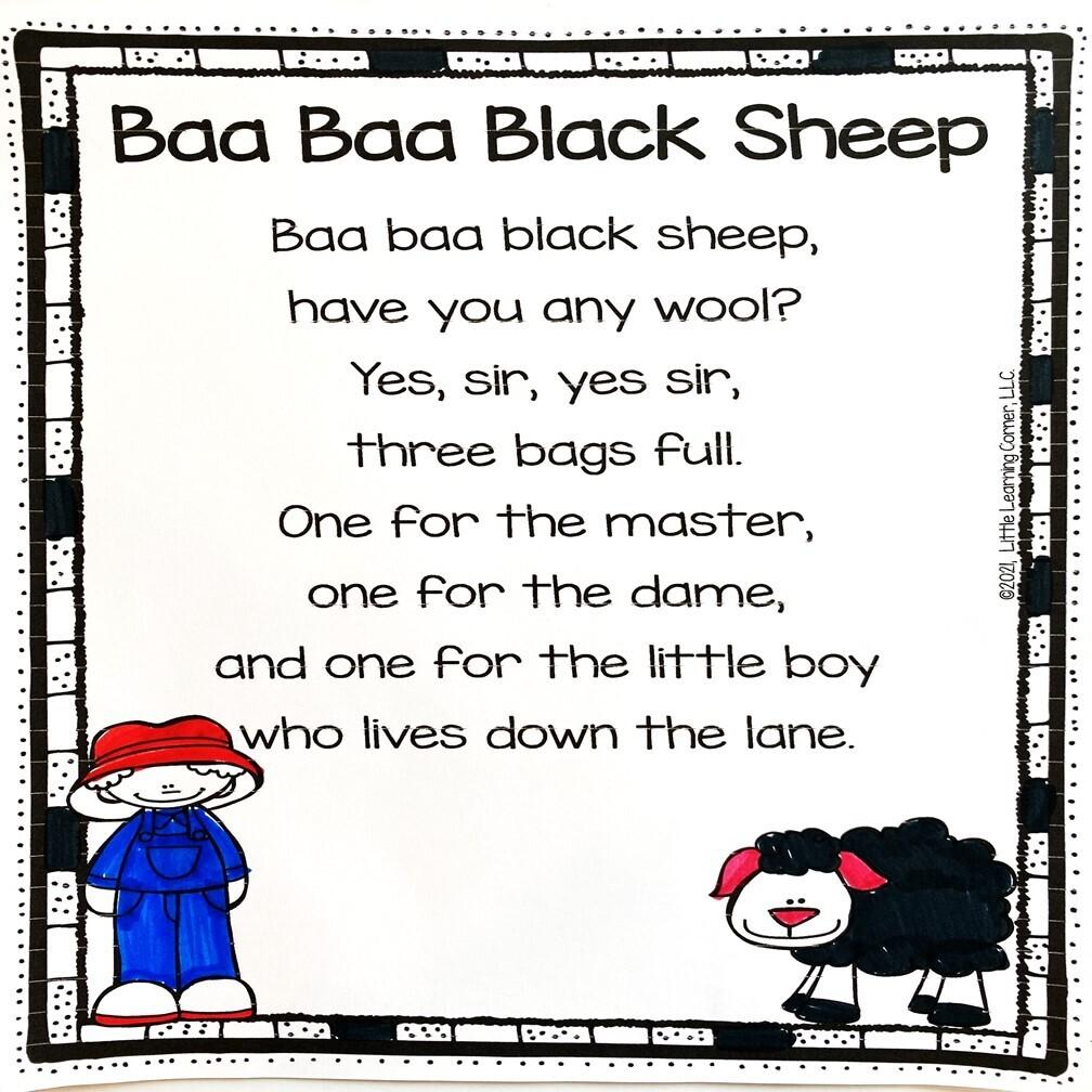 Baa Baa Black Sheep Printable Poem