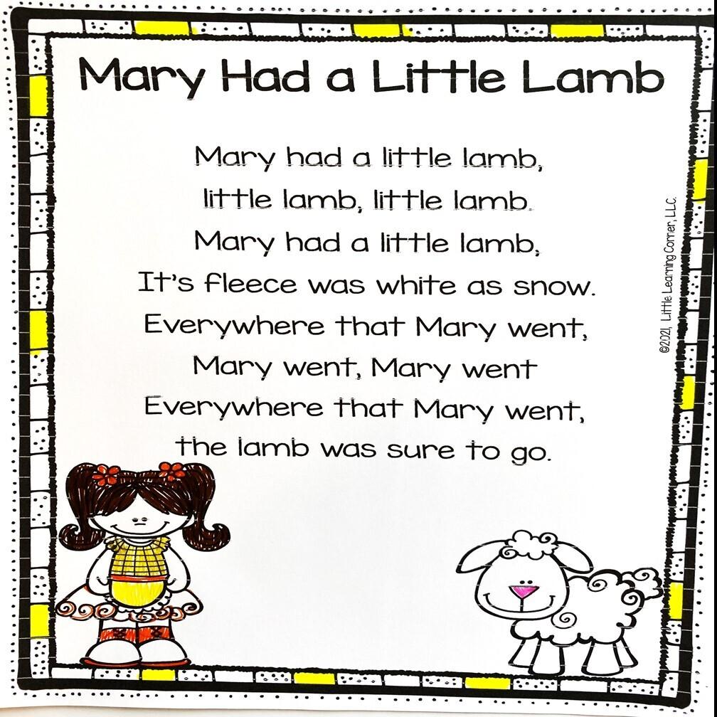 Mary Had a Little Lamb Printable Poem