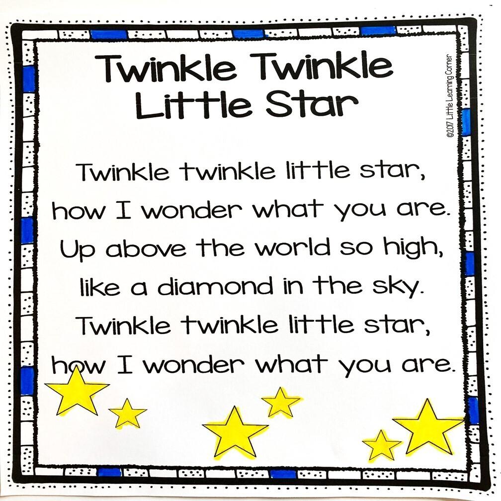 Twinkle Twinkle Little Star Printable Poem