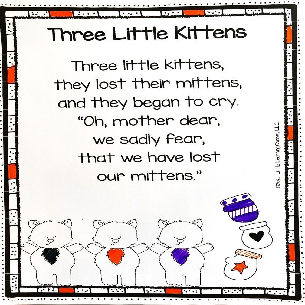 Three Little Kittens Printable Poem