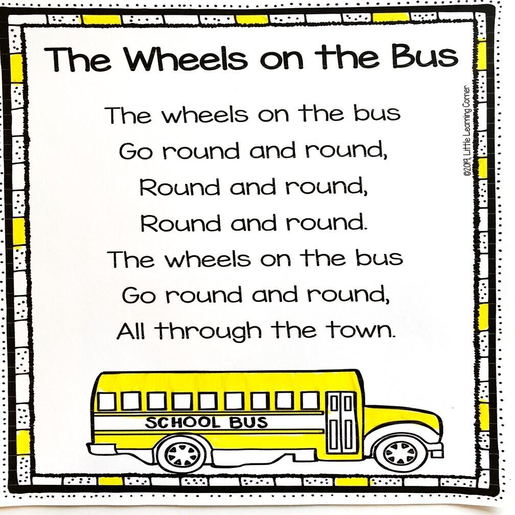 Wheels on the Bus Printable Poem