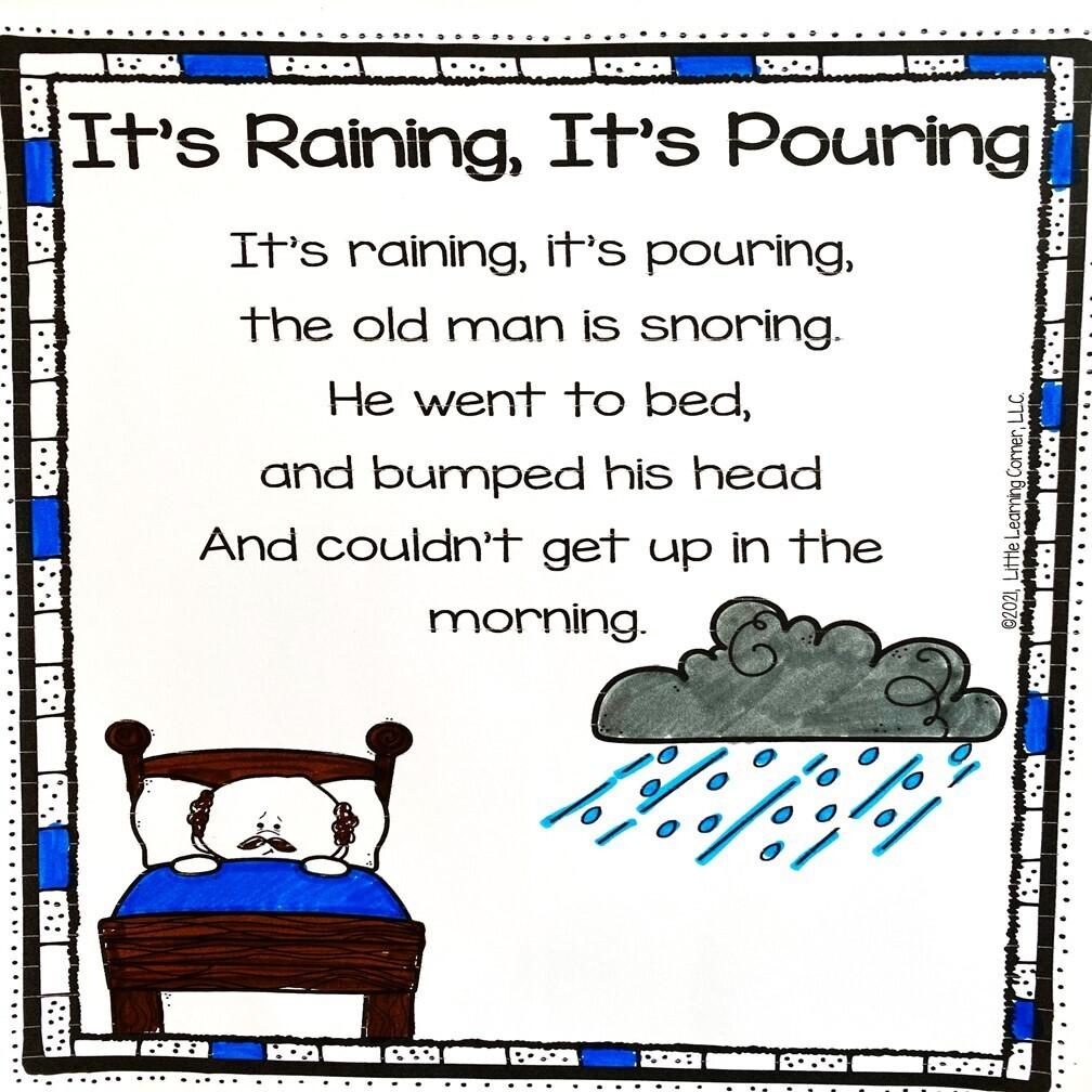 It's Raining It's Pouring Printable Poem