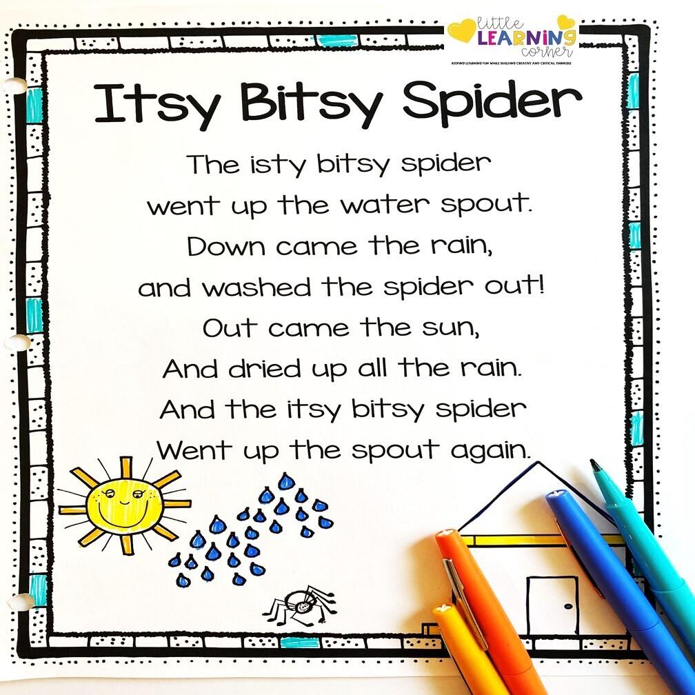 Itsy Bitsy Spider Printable Poem