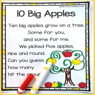 Ten Big Apples Printable Poem
