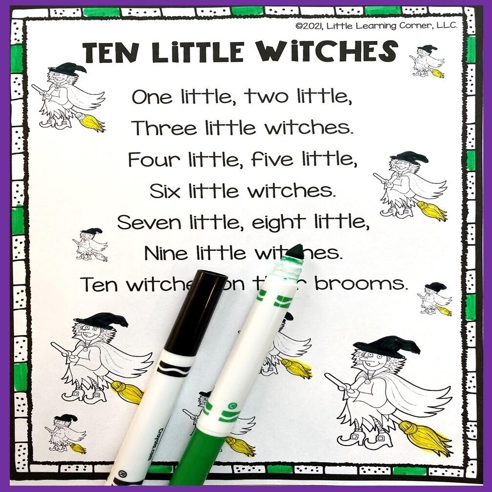 Ten Little Witches Poem