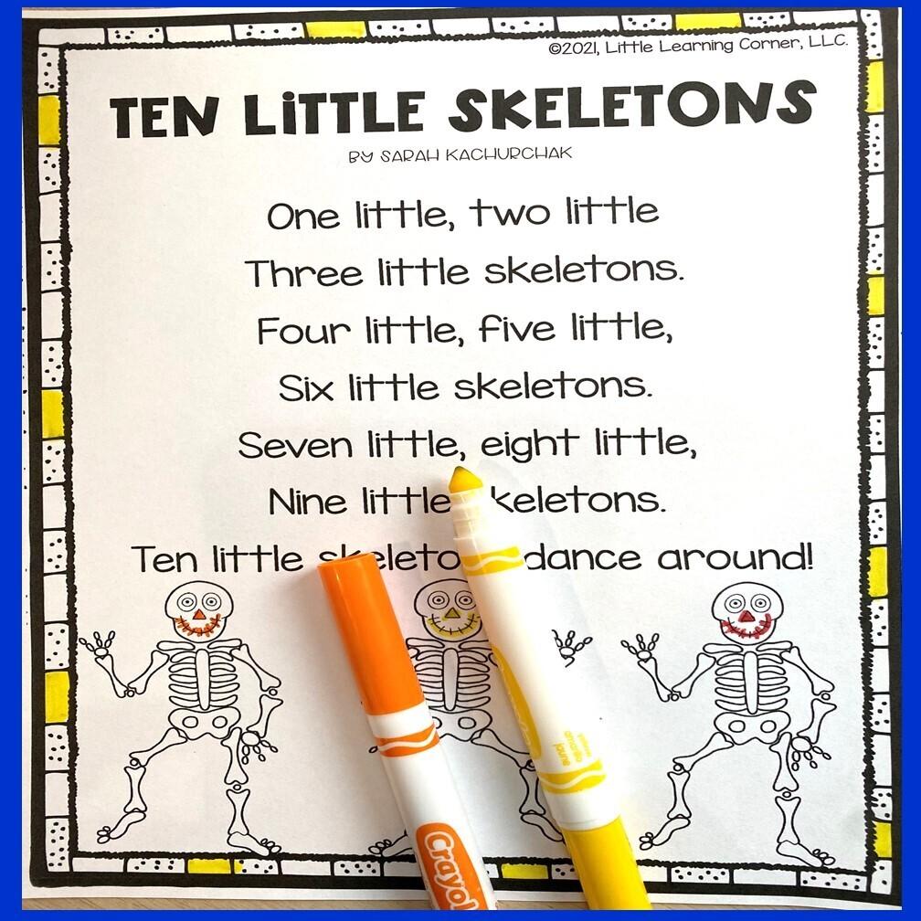 Ten Little Skeletons Poem for Kids