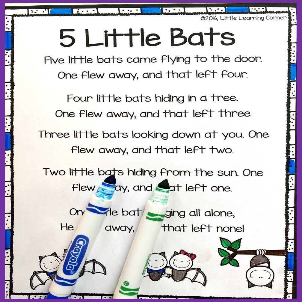 Five Little Bats Poem for Kids