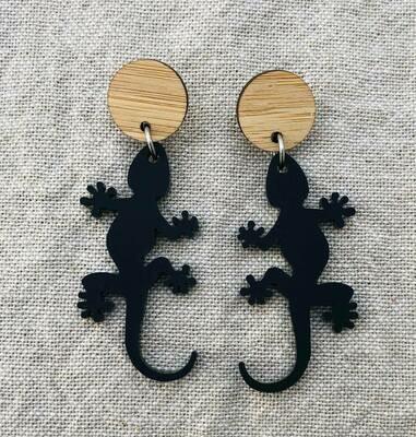 Matte Black Gecko Dangle Earrings