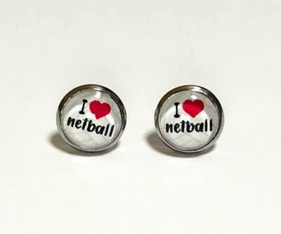 'I love netball' Earrings - 10mm