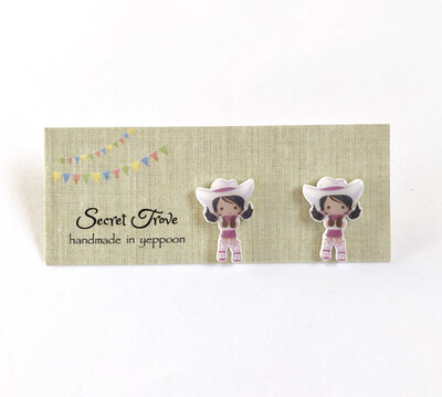 White Hat Cowgirl Studs
