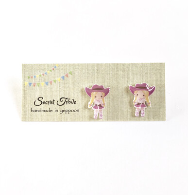 Pink Hat Cowgirl Studs