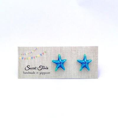 Blue Star Fish Earrings